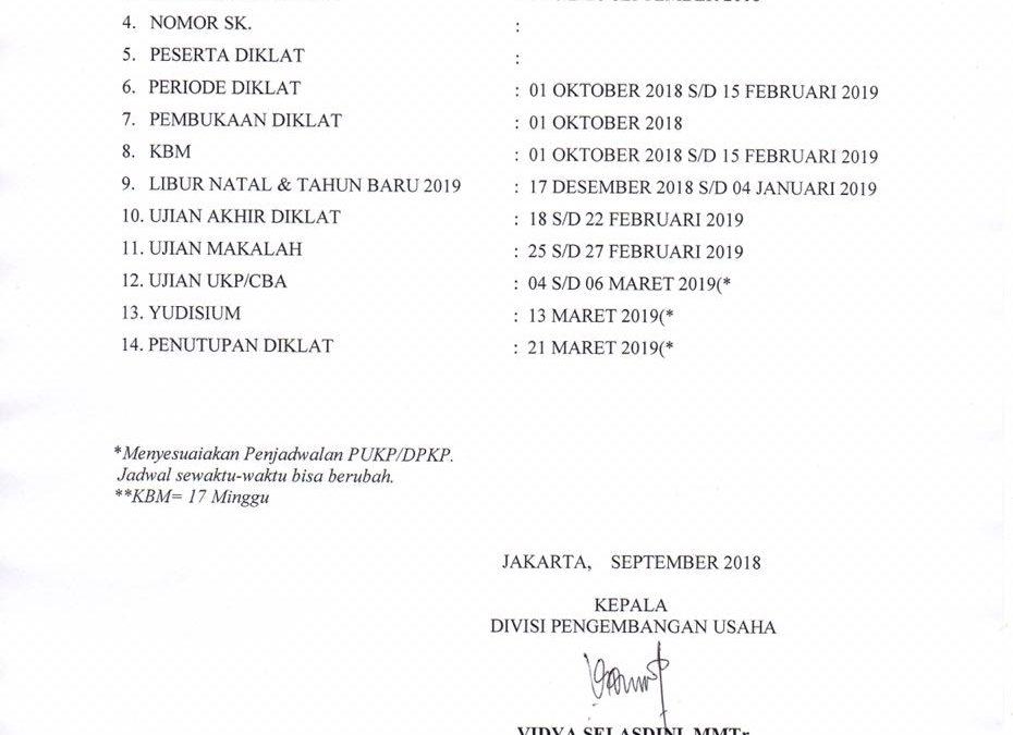 Kalender Akademik Program Keahlian Tingkat I (DP-I/ANT/ATT-I) Angkatan L & Tingkat III (DP-III/ATT-III) Angkatan XXVIII