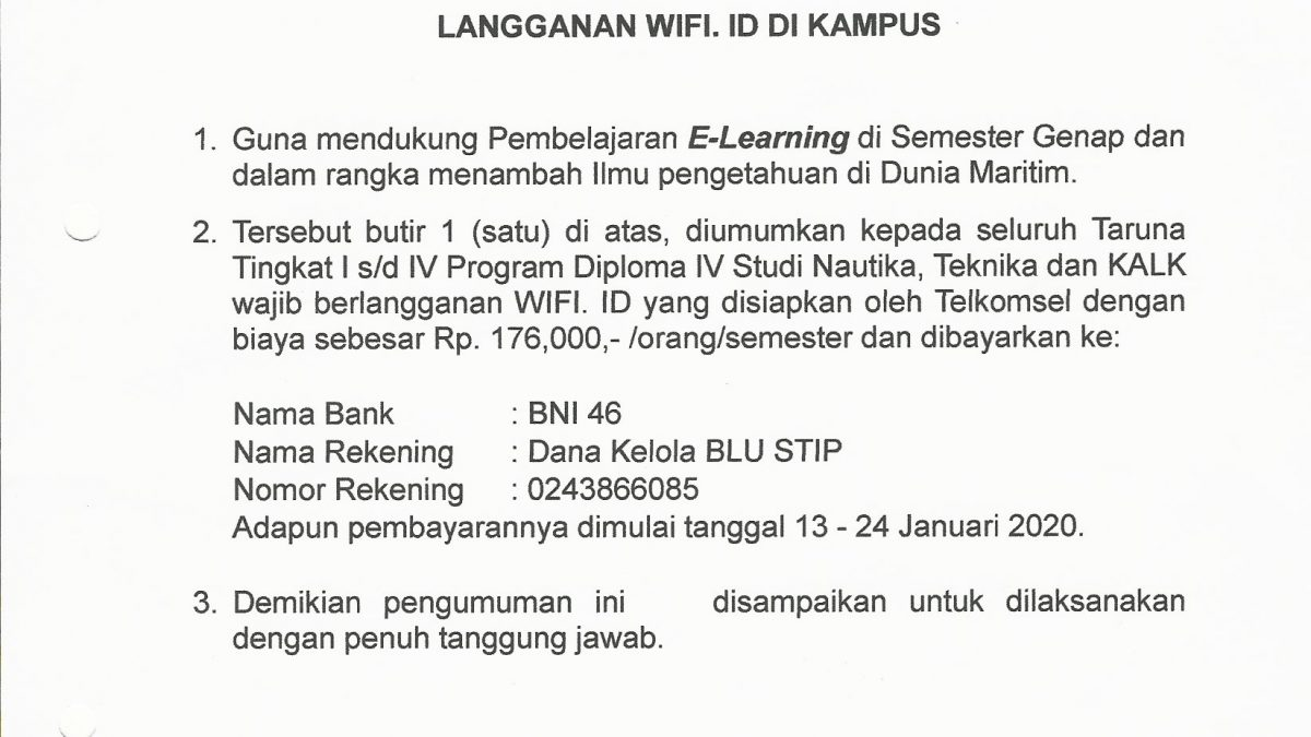 Pengumuman Tentang Langganan WIFI.id