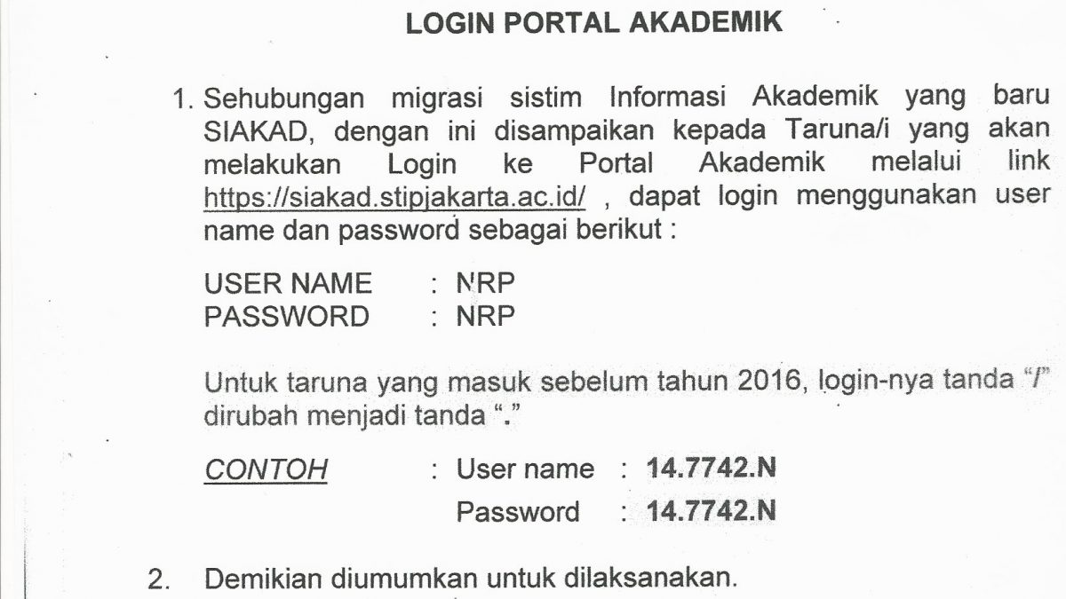 Pengumuman Login Portal Akademik