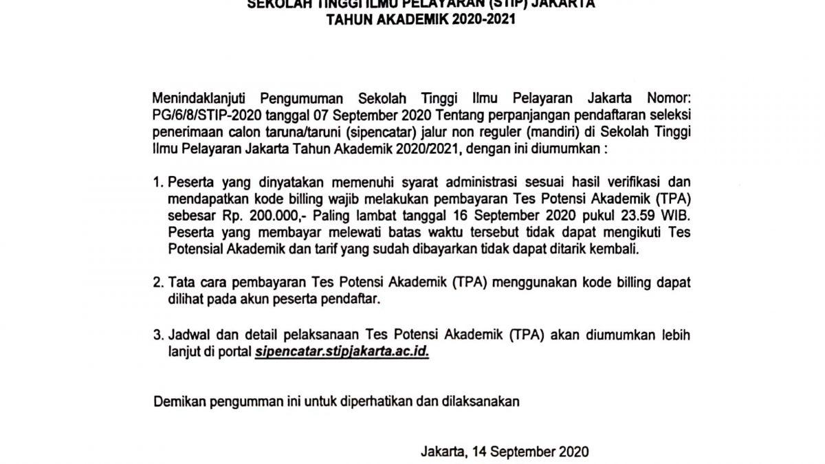 Pengumuman Pembayaran Tes Potensi Akademik SIPENCATAR Non Reguler Mandiri STIP TA 2020/2021