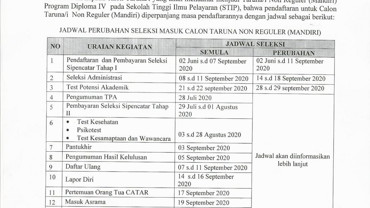 Perpanjangan Pendaftaran Seleksi Penerimaan Calon Taruna/ Taruni (Sipencatar) Jalur Non Reguler (Mandiri) STIP Jakarta