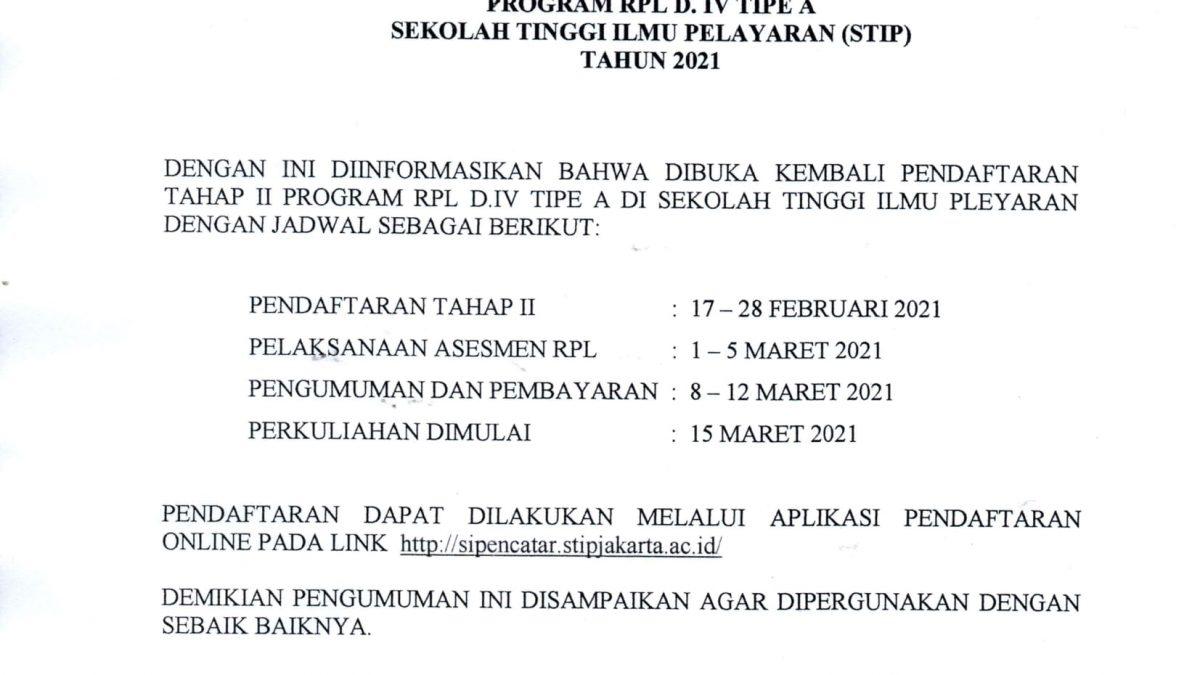 Pengumuman Pendaftaran Program RPL D.IV Tipe A Tahap II Sekolah Tinggi Ilmu Pelayaran Jakarta 2021