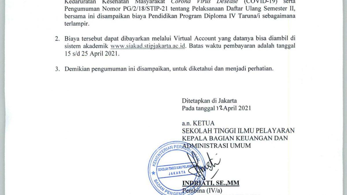 Pengumuman Pembayaran Biaya Pendidikan Diploma IV Untuk Semester II Pada STIP Jakarta Semester Genap 2020-2021