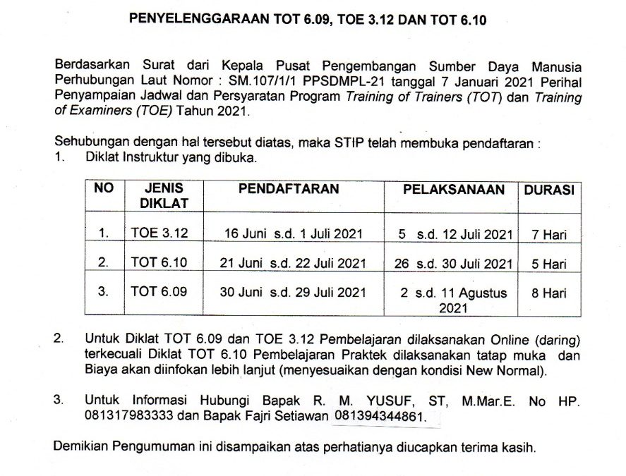 Pengumuman Tentang Penyelenggaraan TOT 6.09, TOE 3.12, dan TOT 6.10